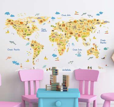 Vinilo pared mapamundi para niños con flora y fauna en catalán para que decores la habitación de tus hijos de forma original. Fácil de colocar.
