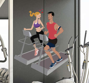 Couple in the gym vinyl wall sticker design of a lady and a guy on a treadmill running to lose weigh. This design can be applied at home or office.