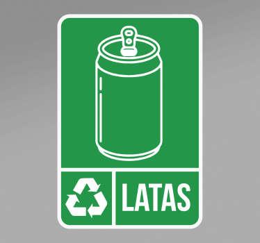 Ponga esta pegatina de reciclaje de latas con el icono de una lata y la frase. Este producto es fácil de aplicar. Cómprala ahora online.