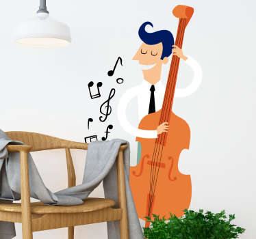 Sticker illustrating a serious musician with a double bass! Superb decal to decorate your child´s room!