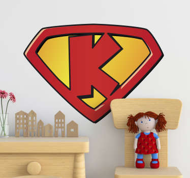Super k super hero kids wall sticker for the bedroom or play area. This is a design of the letter k that stands for a strong character for kids.