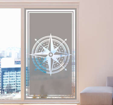 Decorative compass vinyl window sticker that is easy to apply on your window and mirror surface. You can choose the size that you prefer.