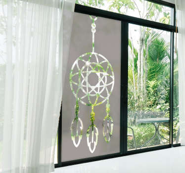Dream catcher  window decal to beautify your window. This design is created in green colour and you can choose the size and it is easy to apply.
