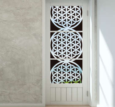 Flower of life decorative window sticker created in white colour for your window surfaces in your home. This design is easy to apply  and maintain.