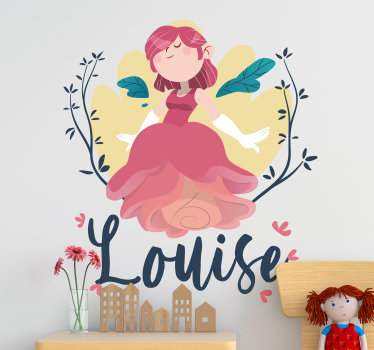 A pink fairy princess with flower dress wall sticker that is  customizable  for your kid's bedroom This design contains a flying fairy on a tree.