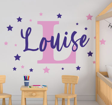 A decorative sticker of colourful stars for kid that can be personalised with any name of your choice. This design is very easy to apply and maintain.