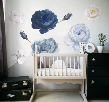 A blue and white coloured baby flower for kids bedroom.This design contains beautiful floral in blue, white and grey colours that will suite bedroom.