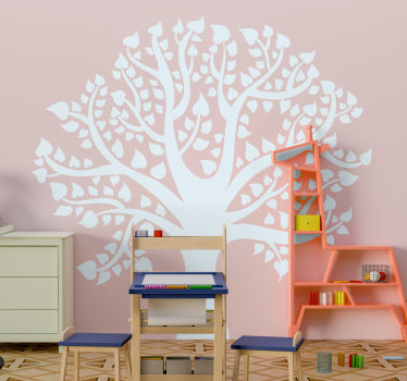 White flower tree with heart sticker design for kids bedroom and any surface of your choice. This design is very easy to apply and you can clean it .