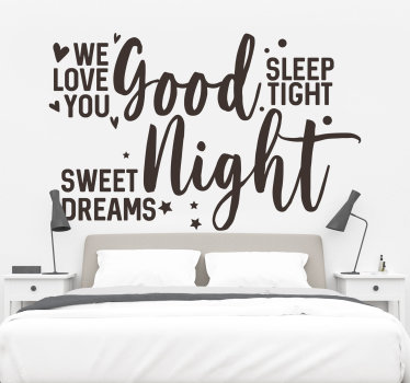 Good night text headboard with stars wall sticker that you need to decorate your bedroom to create beautiful moments of rest.