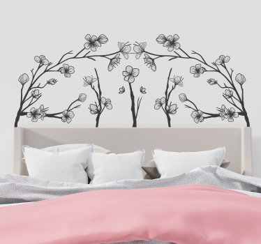 Special ornamental flower tree headboard wall art sticker for the bedroom to create better sleep in your home This design will be lovely .
