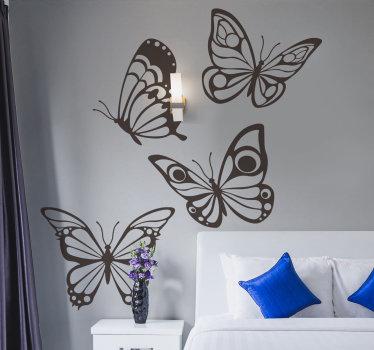 Vinilo decorativo de mariposas volando en diferentes posiciones en el que puedes elegir el color y tamaño que desees ¡Envío a domicilio!