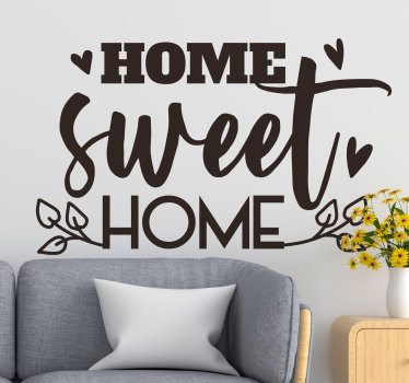 Home text wall decal of ''home sweet home''  text design that will be nice to beautify your living room or bedroom. This design is easy to apply on surface.