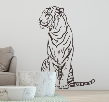 A wild striped tiger wall sticker design to decorate your living room or bedroom. This design is very easy to apply and you can choose the size.