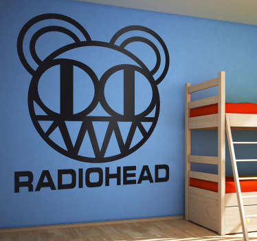 Adesivo murale raffigurante il logo della nota rock band britannica, i Radiohead. Ideale per i fan di questo gruppo musicale.