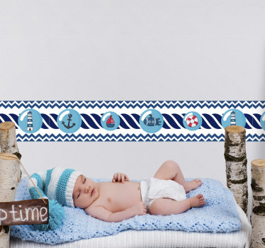A self adhesive boarder that is created with sailor's features that will beautify your baby's room. This design contains major features with sailing.