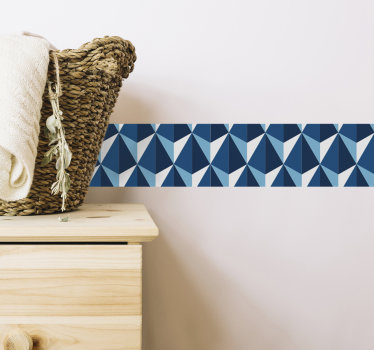 Decorative wall boarder decal created in blue pantone texture that you will love on your surface. This design is very easy to apply on flat surface.
