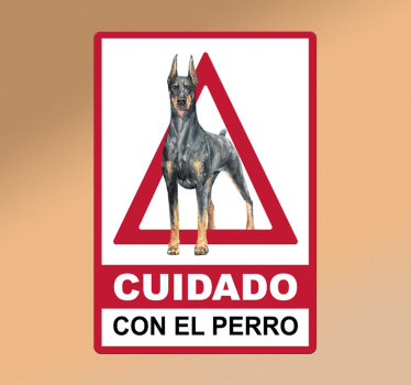 Vinilo señalización de aviso para perros que puedes usar en casa o en cualquier lugar. Diseño con un perro en forma rectangular ¡Envío a domicilio!
