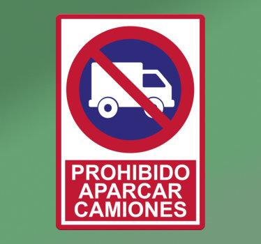 """Vinilo de señalización icónica con la señal de un camión con un prohibido y frase """"prohibido estacionar camiones"""". Este diseño es fácil de aplicar en superficies planas."""