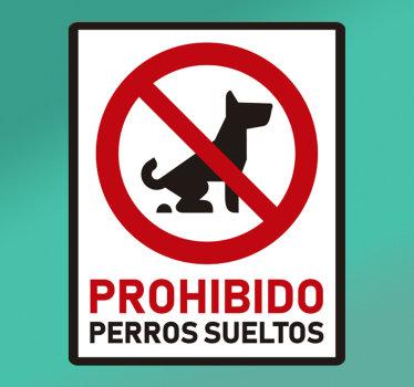 Una vinilo pared de señalización de advertencia para perros sueltos creado con texto y un perro. Este texto contiene un mensaje de advertencia. Fácil de aplicar.