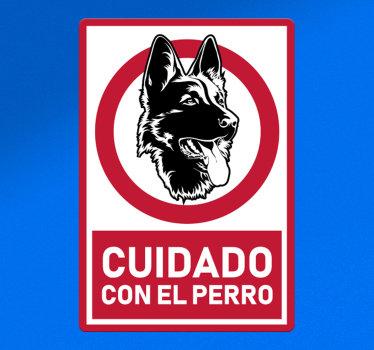 Vinilo señalización seguridad cuidado perro de alerta. Contiene un perro sobre un fondo rojo y blanco con el texto de aviso ¡Envío a domicilio!
