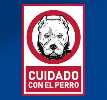 Pegatina advertencia de mascotas para su lugar de negocios o su casa. Se crea con un perro y un texto que contiene el aviso ¡Envío a domicilio!