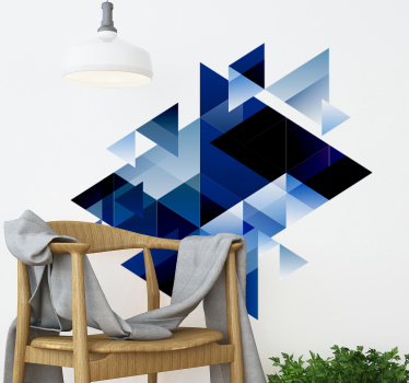 A decorative blue geometric abstract wall sticker design that will be nice to decorate your living room or bedroom. This design is easy to apply.