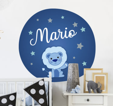 Personalised Infant illustration wild animal sticker for bedroom that can have the name of your child on it. This design is very easy to apply.