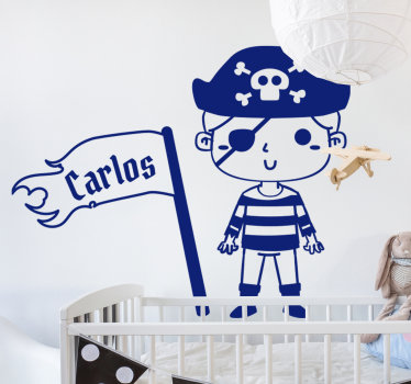 Children's pirate nautical wall sticker design in blue with a kid pirate waving a flag with a name on it. This design can be customised with a name.