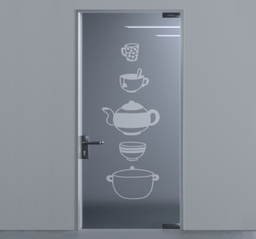 Kitchen cooking wares door sticker that can be applied on the door, window and mirror surface of the kitchen to beautify it. Easy to apply design.