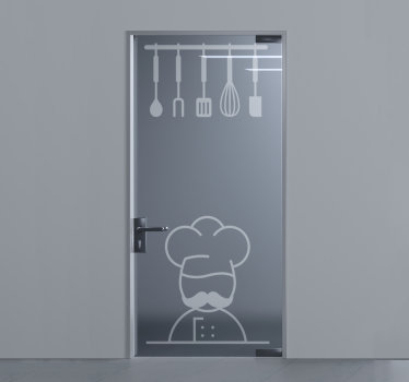 Decorative kitchen cooking wares door sticker that can be applied on the door, window and mirror surfaces of your kitchen to beautify it.