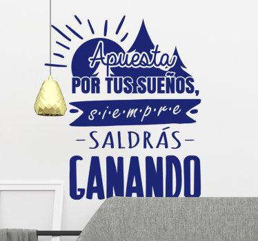 Vinilo pared de texto de pared motivadora para decorar tu hogar. Este diseño contiene texto de inspiración con el sol en un hermoso color azul para mantenerte inspirado.