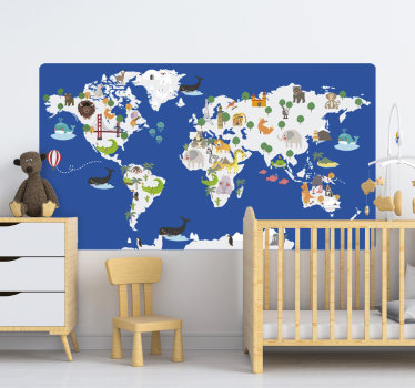 Animal world map wall sticker for kids that can be applied in the bedroom or living room. This design is good for lids learning. Easy to apply design.