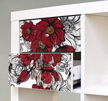 A border furniture sticker with red rose flower to decorate your furniture at home in the living room or dinning. This design is easy to apply.