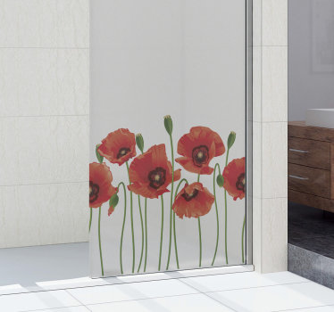 Poppy flower window and mirror decal to beautify the surface of your bathroom and any transparent surface in your home. Easy to apply deign.