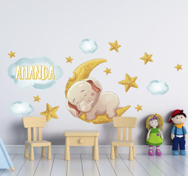 Wild animal wall sticker for children bedroom, created with some stars and and elephant sleeping. This design is easy to apply.