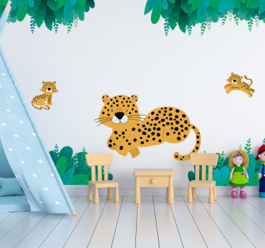 Animal wall sticker with leopard and it young one that your child will love on the wall surface in the bedroom. This design is very easy to apply.