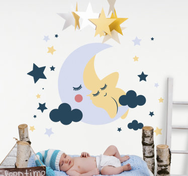 Space kids bedroom wall decal design created with stars, moon and cloud with a baby on it . Your child will love this design in the home.
