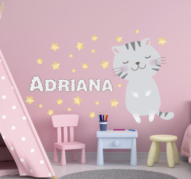 A personalisable kitty with a name kid's room wall sticker that you can use to decorate the bedroom of your child with a name you prefer on it.