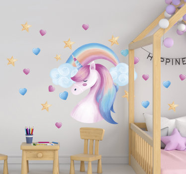 A beautiful unicorn kid's room wall sticker design that you can use to beautify the surface of your child's bedroom. This design is easy to apply.
