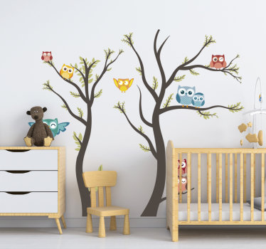 Animal with tree children bedroom wall sticker that is created in very nice cool colour to beautiful your kids room.Easy to apply, you can chose size.