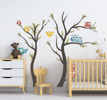 Autocolante de animais selvagens Corujas tons pastel para crianças com as quais podes embelezar o quarto dos teus filhos.