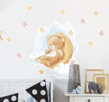 Sticker mural animal pour chambre d'enfant créé avec ours en peluche, étoiles et lune. Cette conception est facile à appliquer et vous pouvez choisir la taille que vous préférez.