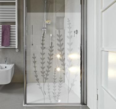 A transparent shower door screen created with flower plant that you will love it appearance on the surface. You can chose the size you want.