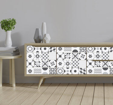 Vintage geometric tile patterned furniture sticker to change the appearance of your furniture at home with beauty. This design is easy to apply.