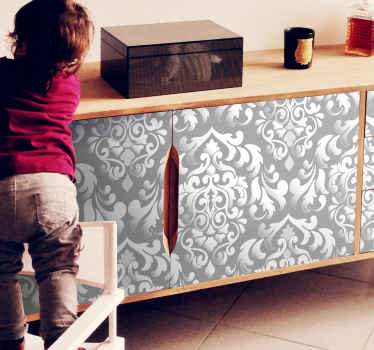 Get rid of boring furniture surfaces with this grey floral patterned furniture sticker that will create a classy look for this space.