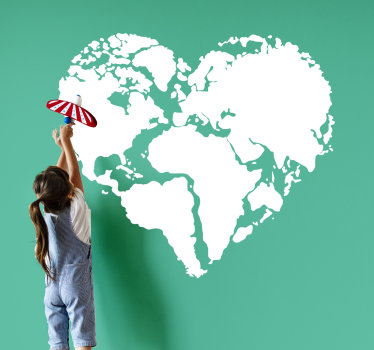 Children world map sticker designed with the shape of a heart in white colour. This design will beautify your home with the flavour of love.