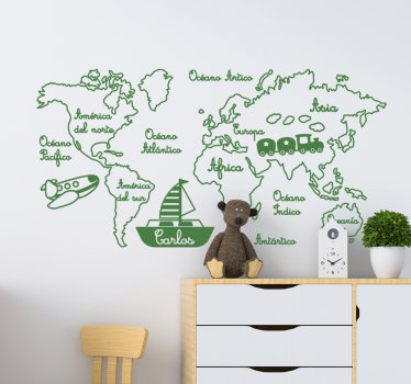 Un vinilo mapamundi infantil con texto en español para niños en el que se puede personalizar con el nombre de su hijo ¡Envío a domicilio!