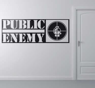 Adhesivo de música, del grupo neoyorkino de rap Public Enemy. Si te gusta el hip hop no puede faltar este vinilo distintivo de la banda.