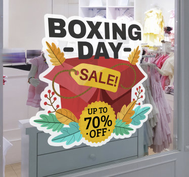 Window sales decal design created with gift presents in beautiful attractive colours to promote your festive  sale. Adhesive  and easy to apply design.