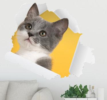 您可以用来装饰房屋的3d猫墙贴花。这种设计独具匠心,将以一种特殊的方式美化您的房屋。